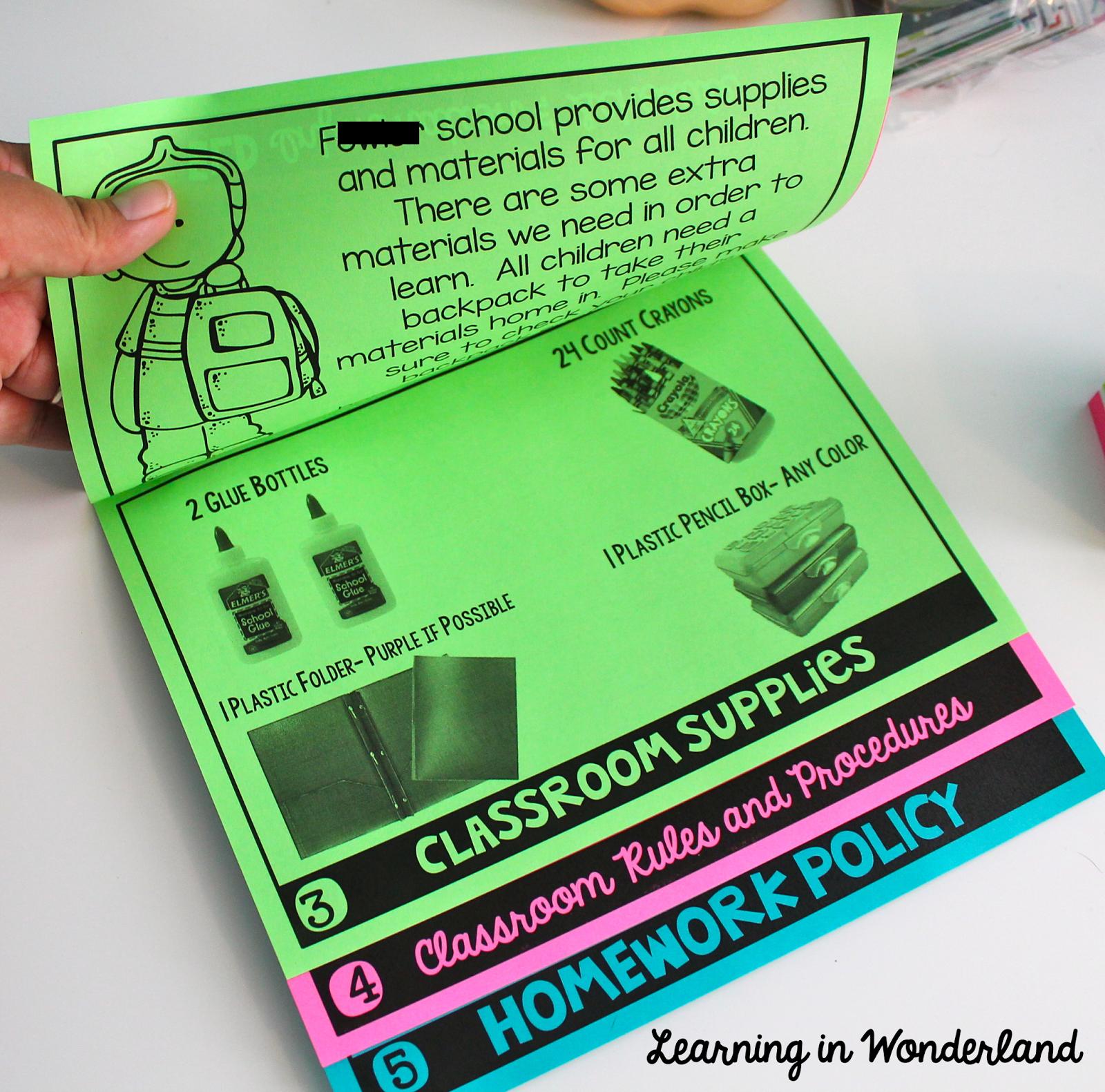 Back-to-School flip book for Meet the Teacher night!