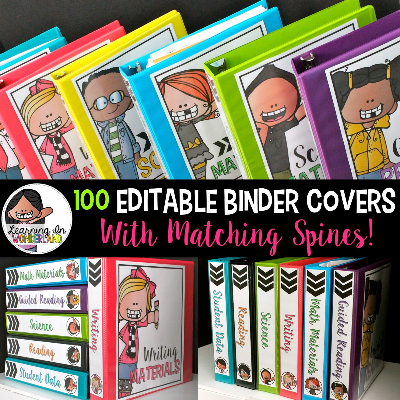 100 editable binders with matching binder spines! Imagine all the organizational possibilities!