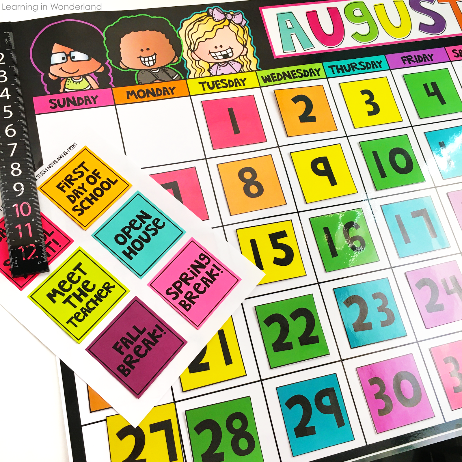 This large calendar is perfect for first grade, second grade, or any primary classroom!!