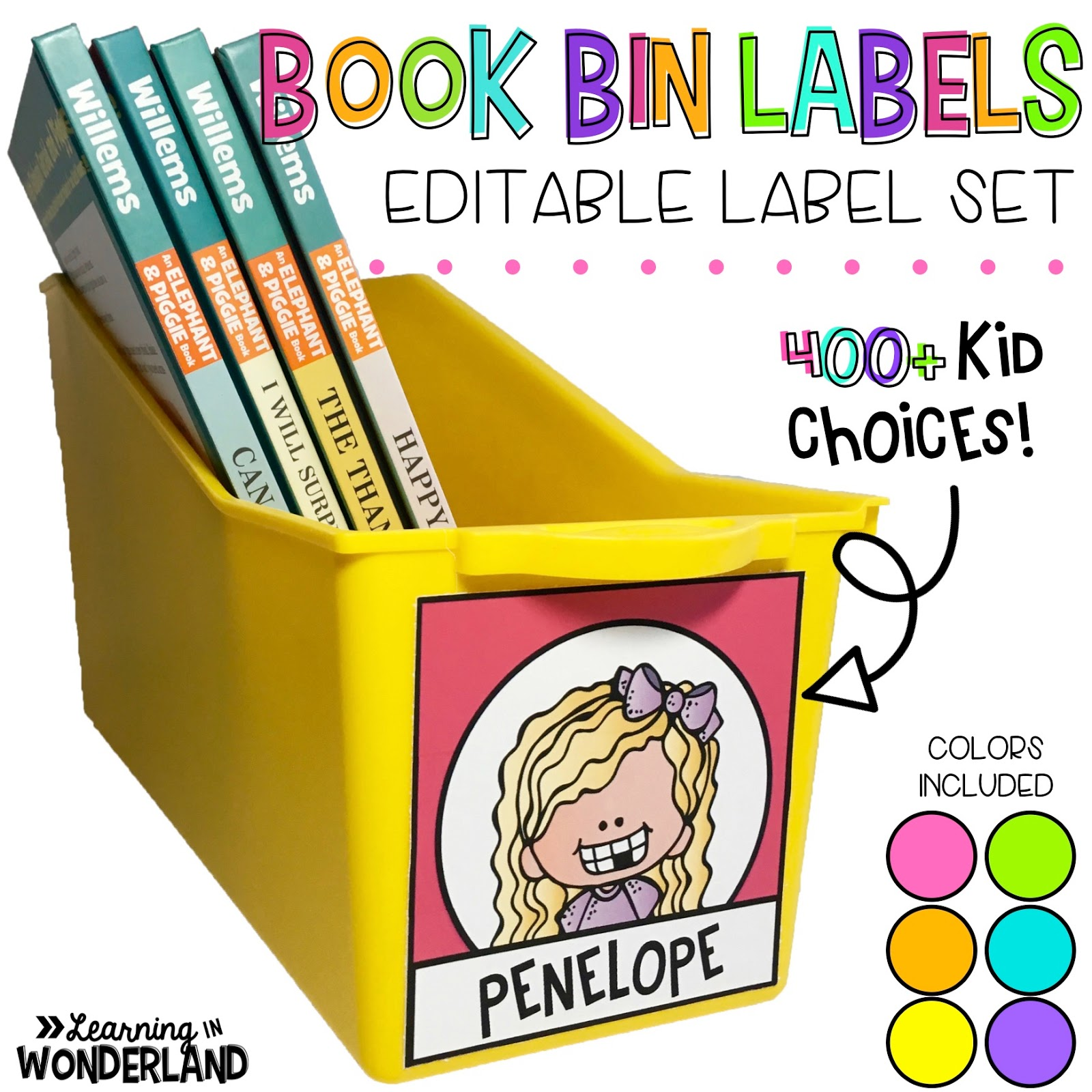 Custom book bin labels for the primary classroom.